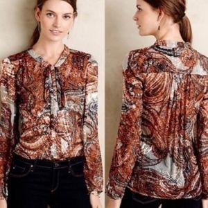 MEADOW RUE anthropologie sheer tie neck blouse S M